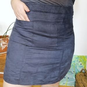 Faux Suede Charcoal Gray Mini Skirt